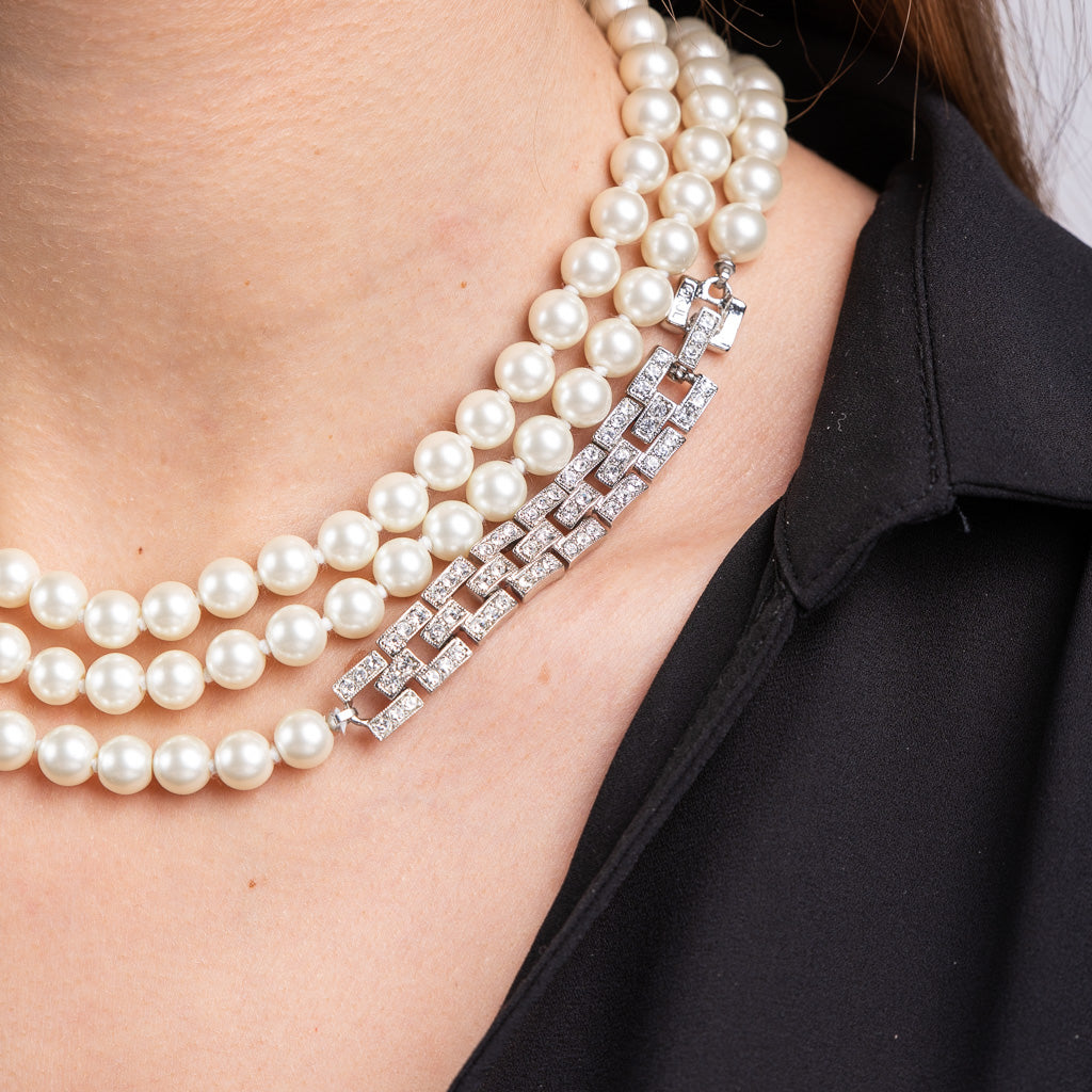 Long Pearl Necklace with Silver Crystal Clasp