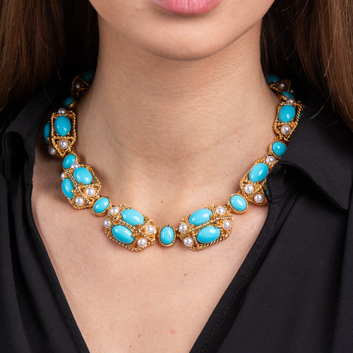 Turquoise Cabochon and Pearl Necklace