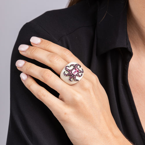 Pink Octopus and White Enamel Dome Cocktail Ring