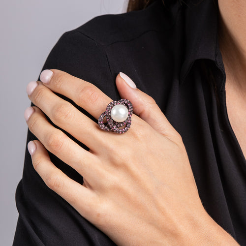 Multi Pink Crystal and Pearl Center Swirl Ring
