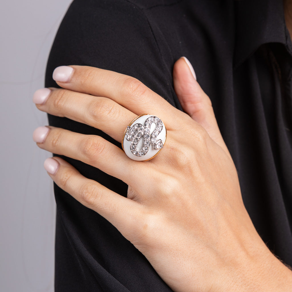 Silver and Crystal Snake Dome Cocktail Ring