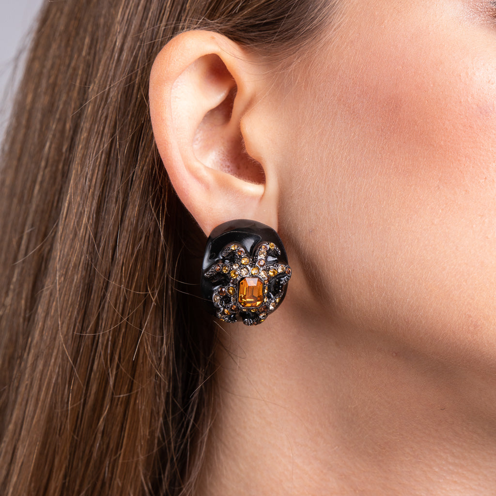 Black Enamel Topaz Octopus Clip Earrings