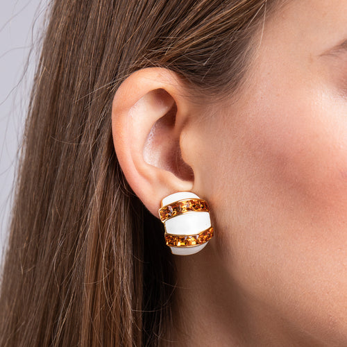 White Enamel and Topaz Half Hoop Clip Earrings