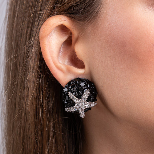 Crystal Starfish and Black Plate Clip Earrings