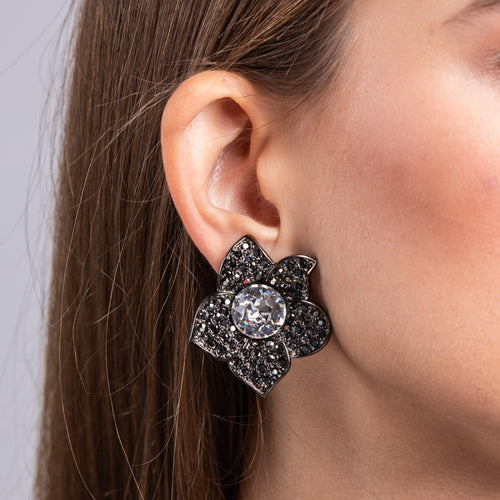 Hematite, Silver and Crystal Flower Clip Earrings