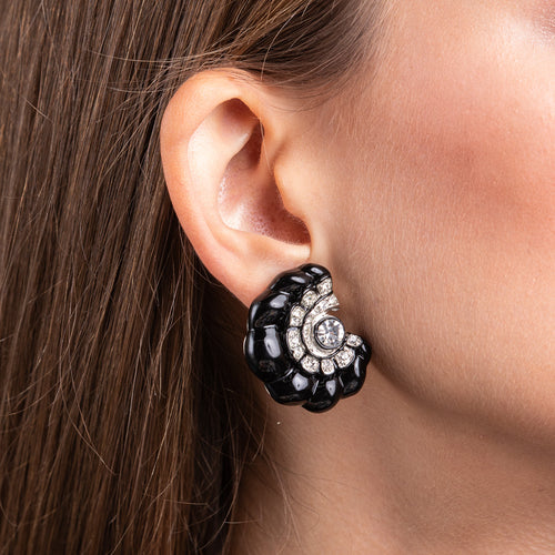 Black Spiral Clip Earrings