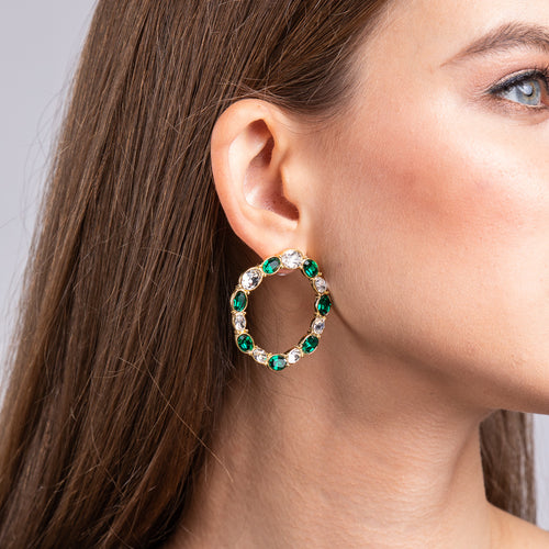 Crystal and Emerald Oval Stones Hoop Pierced Earrings