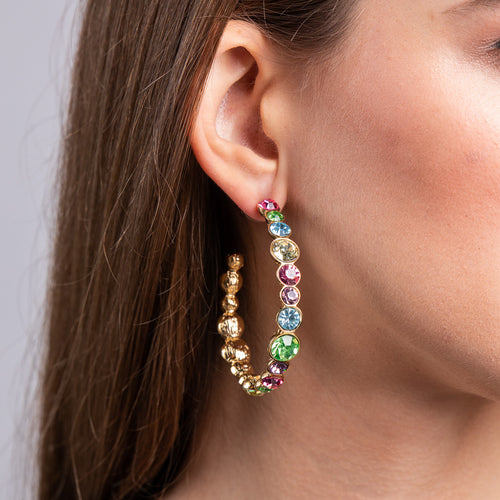 Gold with Pastel Gem Hoop Pierced Earrings