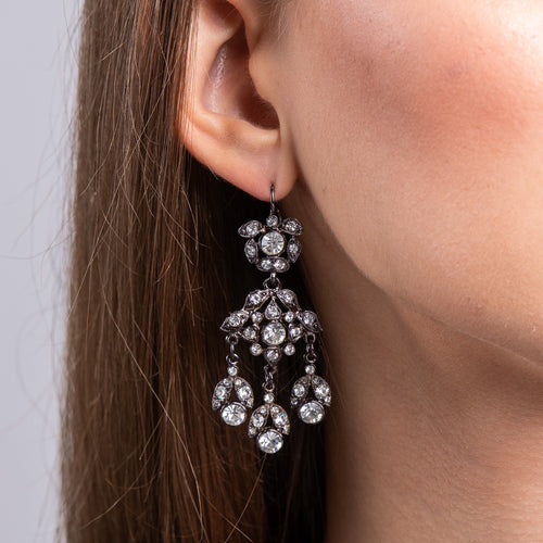 Gunmetal and Crystal Chandelier Pierced Earrings