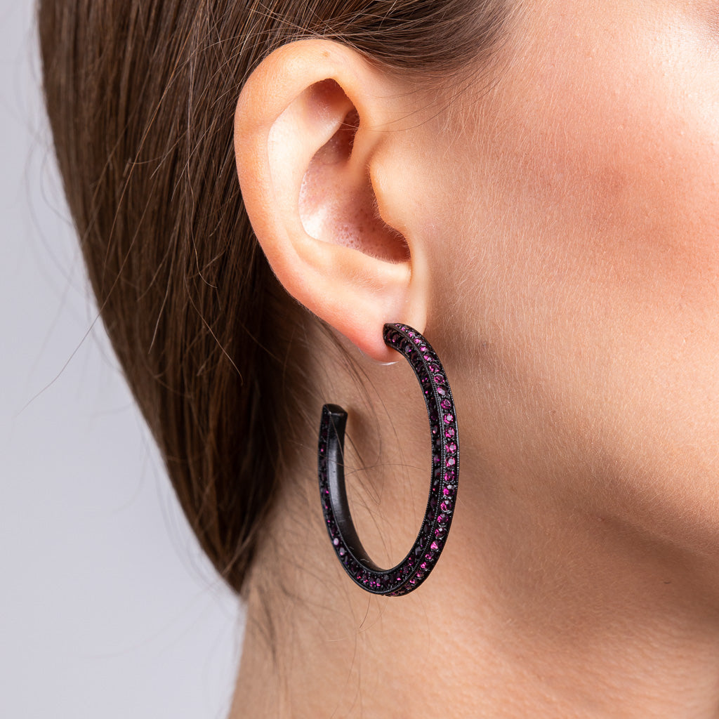 Black Plating with Amethyst Pave Hoop Pierced Earrings