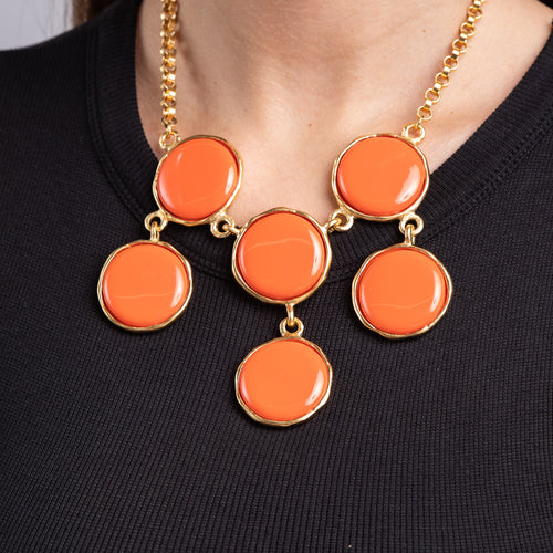 Coral Circle Motif Bib Necklace