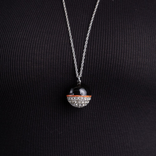 Black, Coral and Rhinestone Ball Necklace