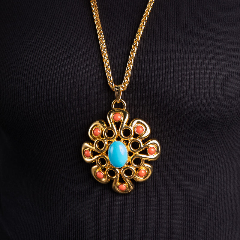 Turquoise and Coral Cabochon and Gold Pendant Necklace