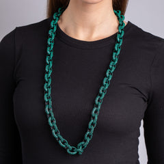 "Black Plate and Emerald 36"" Chain Link Toggle Necklace"