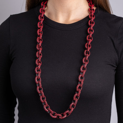 "Black Plate and Ruby 36"" Chain Link Toggle Necklace"