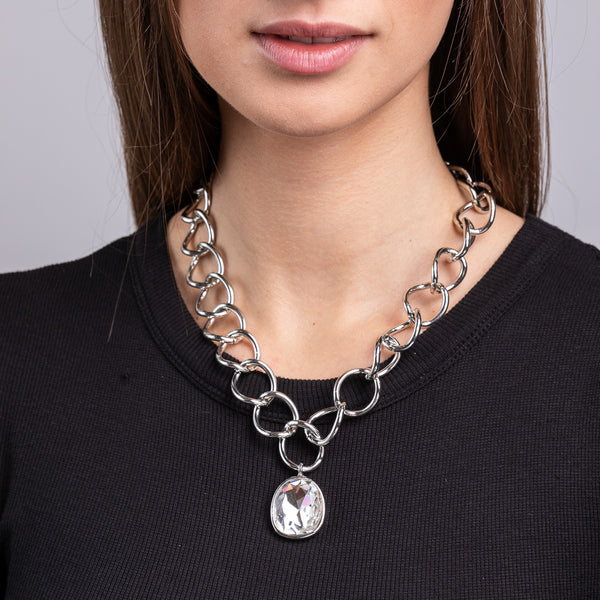 Silver Link Chain with Crystal Pendant Necklace