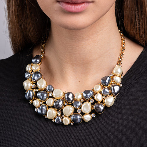 Grey and White Pearl Bib Necklace