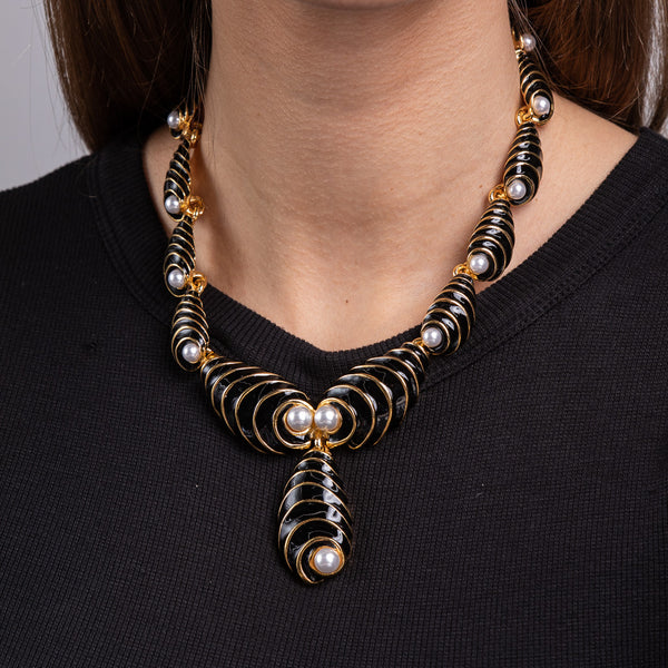 Black Enamel Swirl Drops Necklace