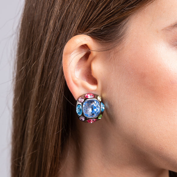 Aqua Crystal Center Clip Earrings