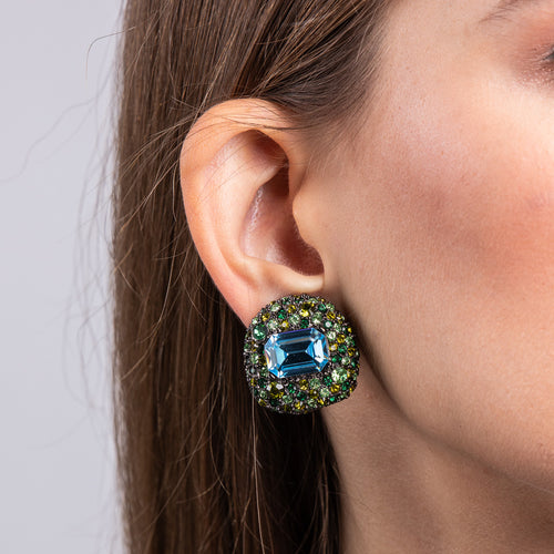 Gunmetal with Multi Green Stones and Aqua Center Button Clip Earrings