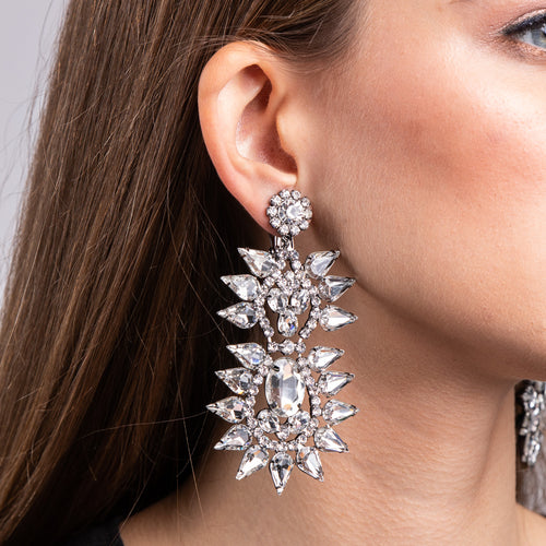 Crystal Two Tier Spike Clip Earring