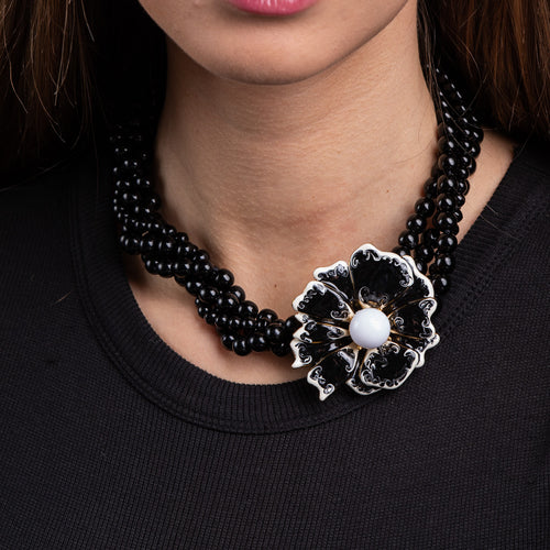 4 Row Black Beaded Necklace with White Enamel Flower Clasp