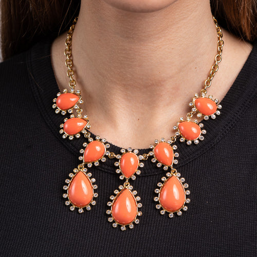 Crystal and Coral Cabochon Drops Neckace