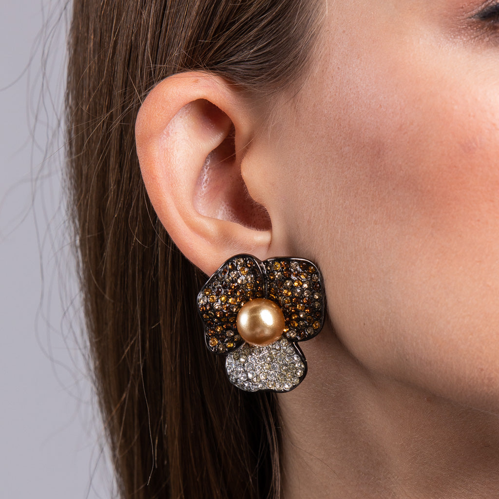 Gunmetal and Topaz with Pearl Center Flower Clip Earrings