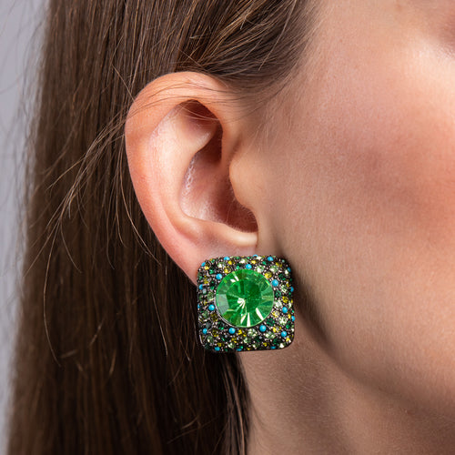 Gunmetal and Green and Turquoise Crystals with Peridot Center Clip Earrings