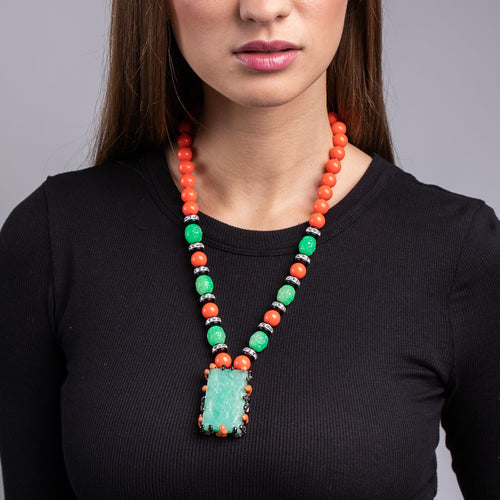 Coral and Jade Beaded Art Deco Pendant Necklace
