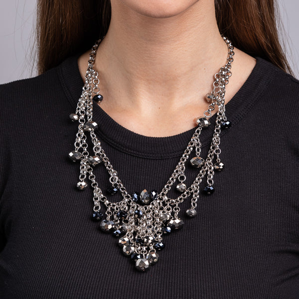 Silver Chain and Jet Beads Necklace