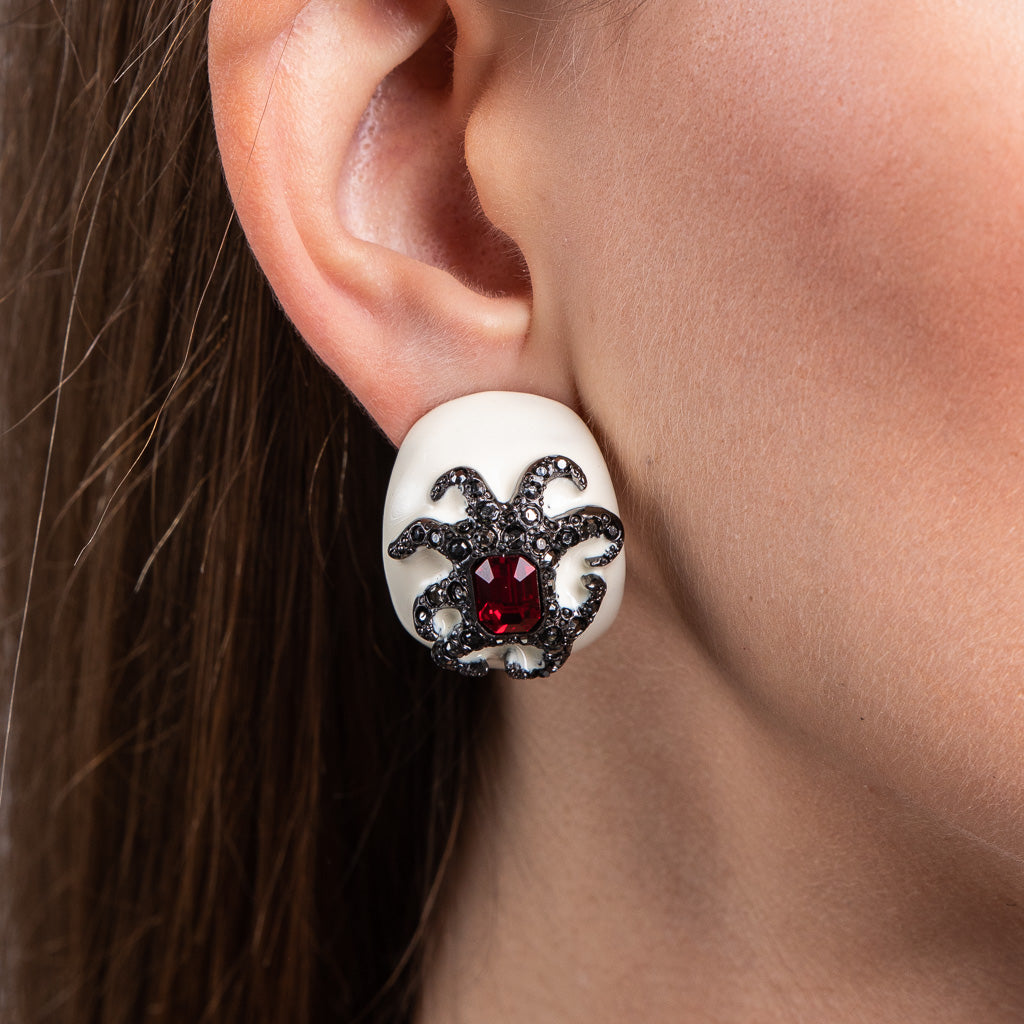 White Enamel Ruby Octopus Clip Earrings