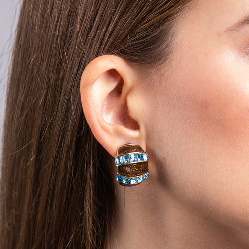 Brown Enamel with Aqua Half Hoop Clip Earrings