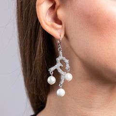 Rhodium and Rhinestone White Pearl Drop Pierced Earrings
