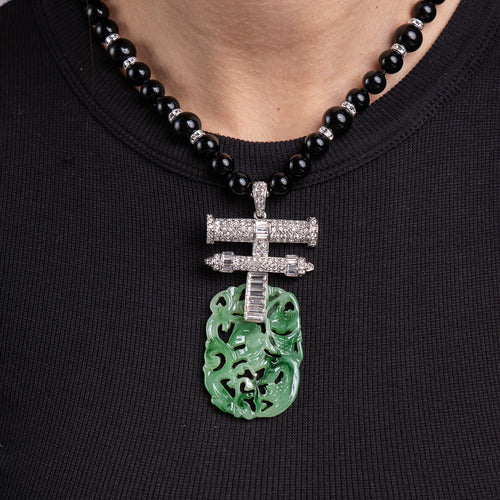 Rhinestone and Carved Jade Drop Necklace