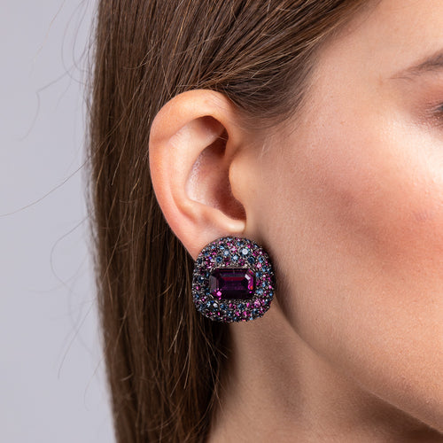 Gunmetal with Sapphire Stones and Amethyst Center Button Clip Earrings