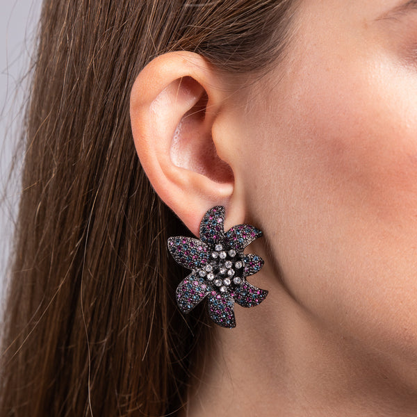 Gunmetal with Sapphire and Amethyst Center Flower Clip Earrings