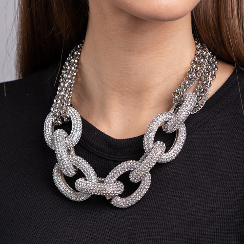 Multi Chain and Rhinestone Silver Necklace