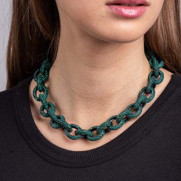 "Black Plate and Emerald 16"" Chain Link Toggle Necklace"