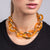 Polished Gold with Amber Resin Links Necklace