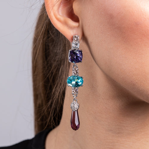 Violet, Aqua and Amethyst Drop Pierced Earrings