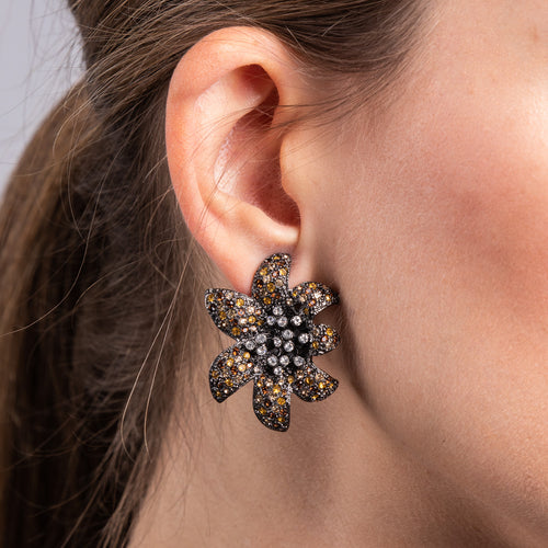 Gunmetal with Topaz and Crystals Flower Clip Earrings