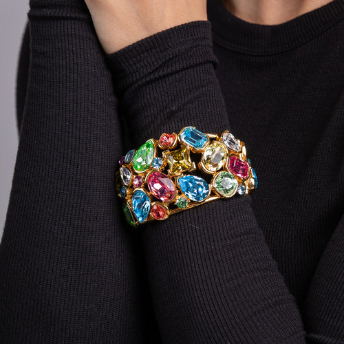 Gold with Multi Pastel Gem Fancy Cuff