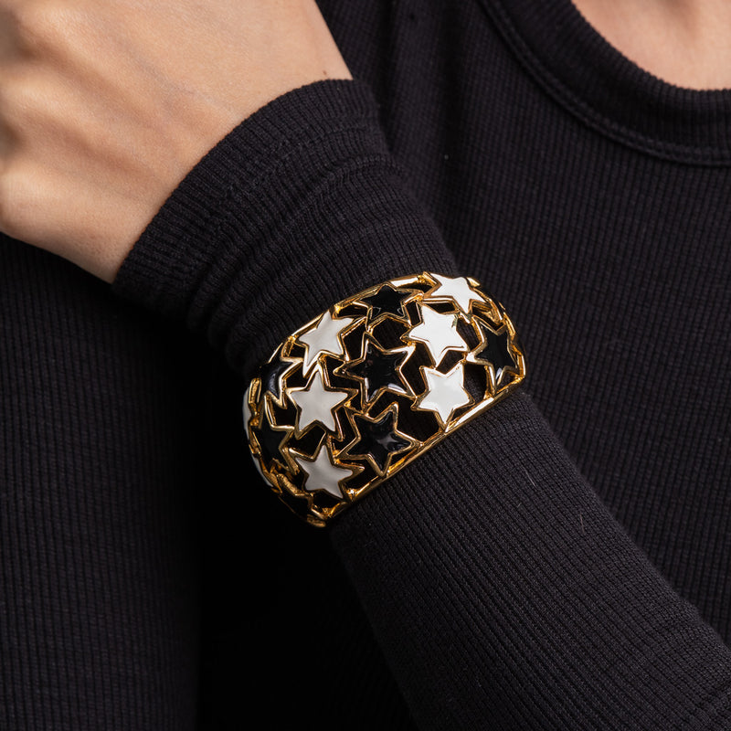 Polished Gold Black and White Star Cuff
