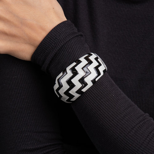 Silver with Black and White Enamel Zig Zag Cuff
