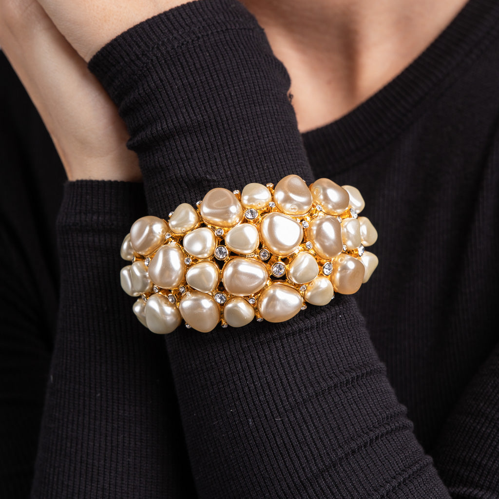 Gold with Rhinestone and White Pearl Nugget Cuff