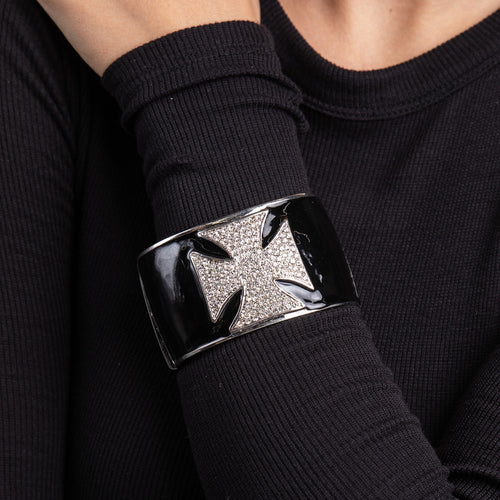 Black and Crystal Maltese Cross Cuff