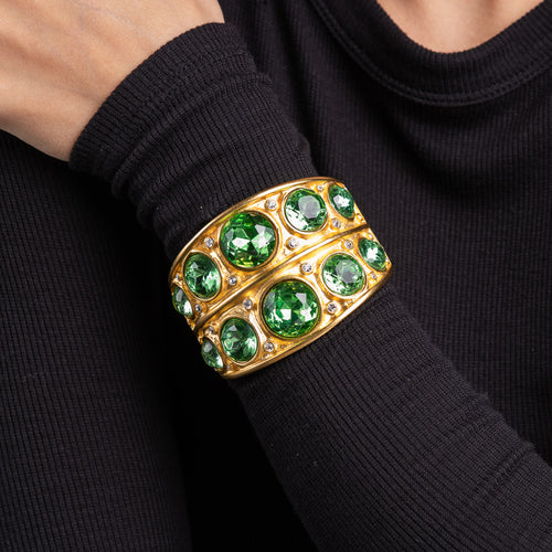 Satin Gold with Peridot Hinged Bracelet