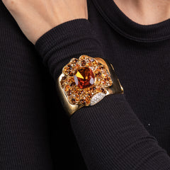Polished Gold with Two Tone Rhinestone and Topaz Center Flower Cuff