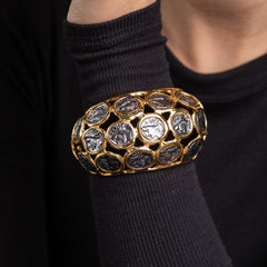 Polished Gold with Antique Silver Coin Cuff